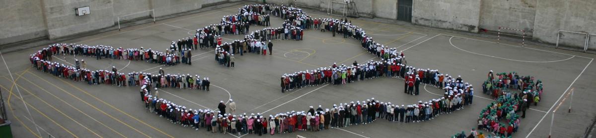 Paloma de la paz formada por grupo de niños de pie en el patio del colegio Raimundo Lulio