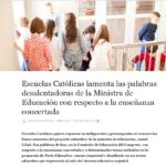Escuelas Católicas lamenta las palabras desalentadoras de la Ministra de Educación con respecto a la enseñanza concertada